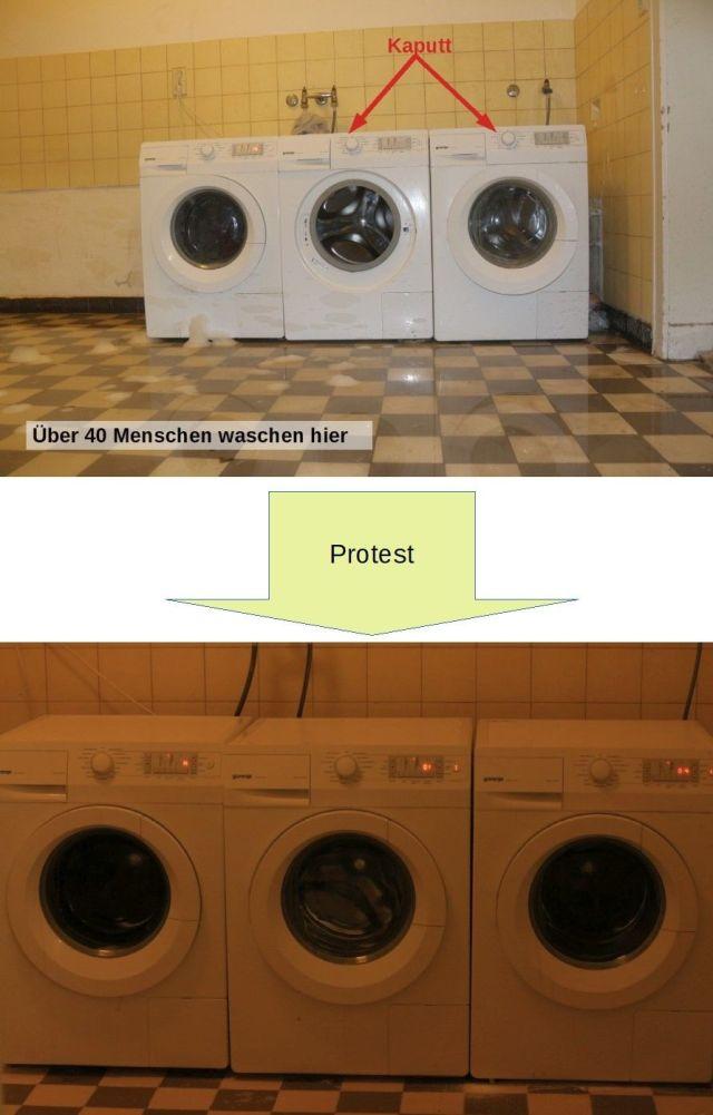 Protest repariert Waschmaschinen