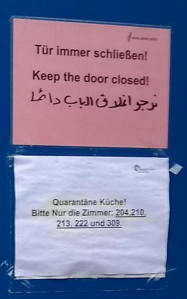 Zettel Quarantäne-Küche Schorndorf